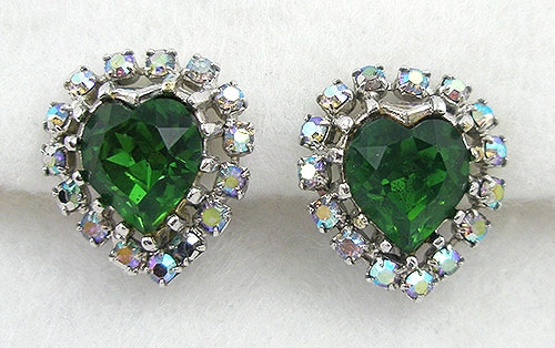 Hearts - Coro Green Rhinestone Heart Earrings