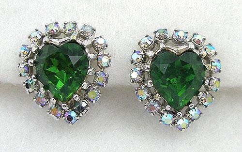 Earrings - Coro Green Rhinestone Heart Earrings