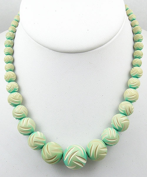 Necklaces - Green Over-Dyed Ivory Galalith Bead Necklace