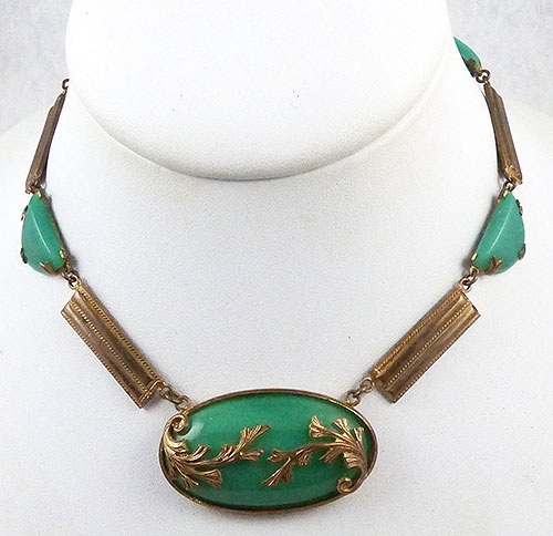 Necklaces - Art Deco Jade Green Glass Necklace