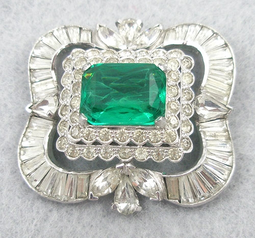 Brooches - Jomaz Flawed Emerald Rhinestone Brooch