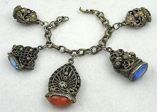 Charm Jewelry - Victorian Revival Watch Fob Charm Bracelet
