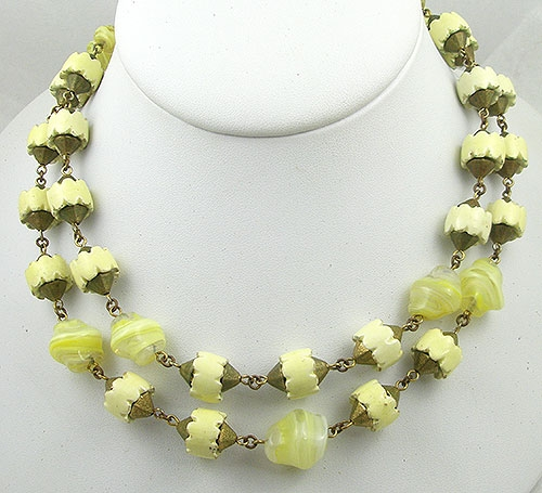 Necklaces - Yellow Glass Bead Double Strand Necklace