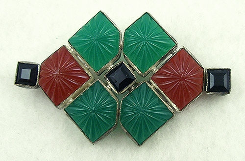 Brooches - Art Deco Jade & Carnelian Glass Brooch