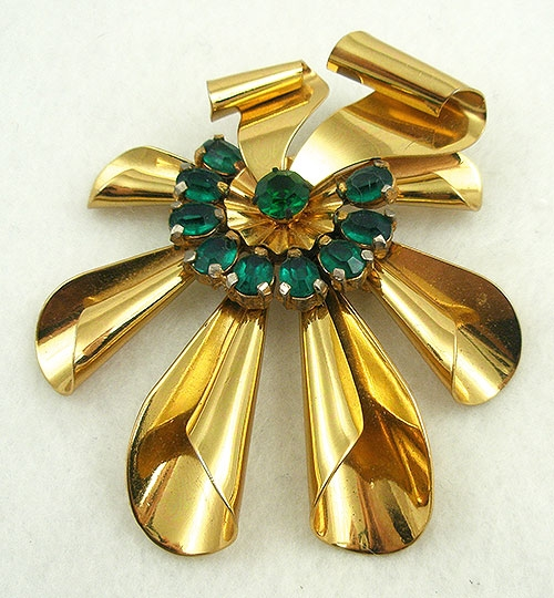 Brooches - Huge Gold Plated Retro Ribbon Brooch