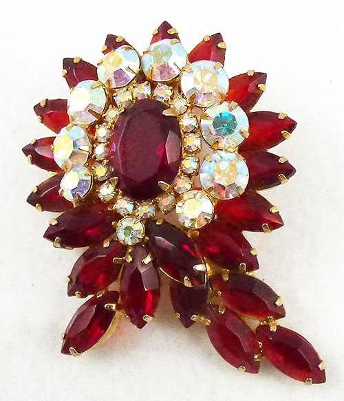 Brooches - DeLizza and Elster Red Rhinestone Brooch