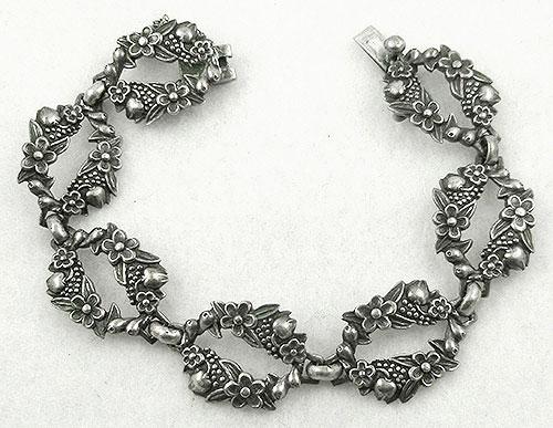 Bracelets - Margot de Taxco Sterling Floral Link Bracelet