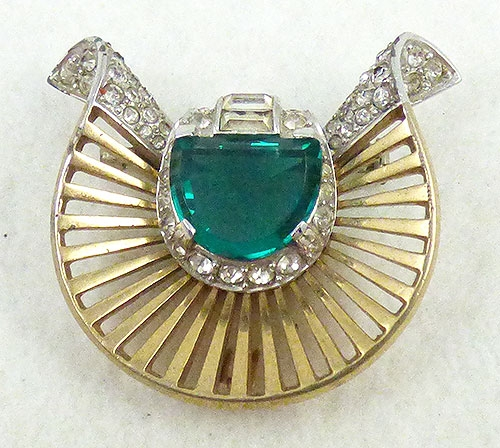 Newly Added Boucher Emerald Rhinestone Brooch