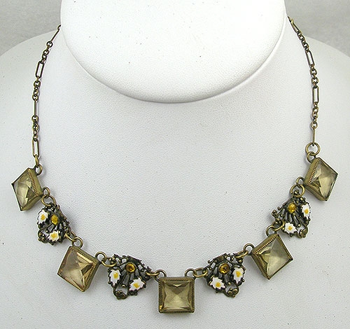 Necklaces - Czech Citrine Glass Filigree Link Necklace