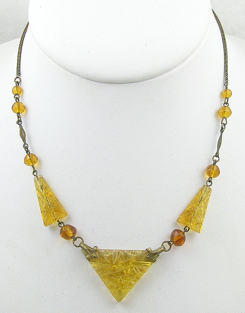 Necklaces - Art Deco Czech Topaz Cut Glass Necklace
