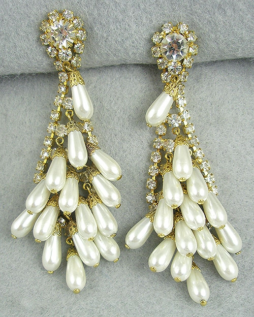 Pearl Jewelry - Rhinestone Pearl Dangles Earrings