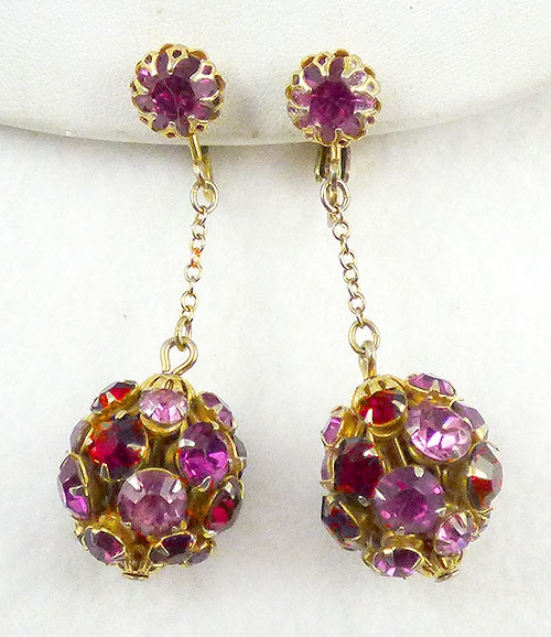 Earrings - Pink and Red Rhinestone Ball Earrings