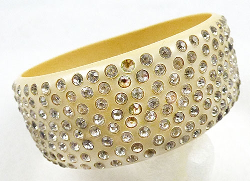 Bakelite, Celluloid, Galalith - Celluloid Sparkle Bangle Bracelet