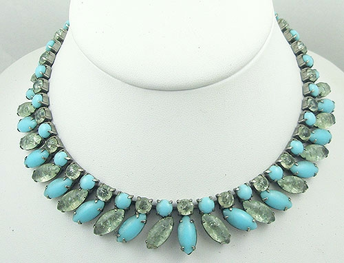Necklaces - Aqua Crackle Glass Navette Necklace