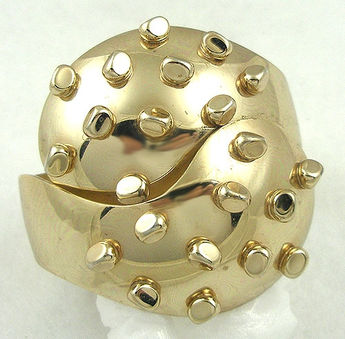 Bracelets - Sculptural Gold Plated Nuggets Clamper Bracelet