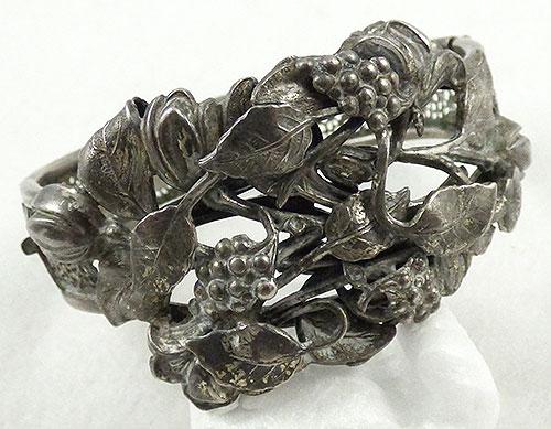 Arts and Crafts - Art Nouveau Silver Repousse Grapes Bracelet