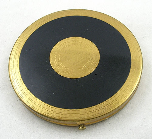 Compacts & Vanity Items - Art Deco Black Enamel Flapjack Compact