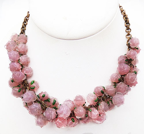 Newly Added 1930's Pink Glass Roses Necklace