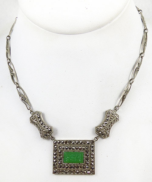 Necklaces - Czech Marcasite Green Glass Necklace