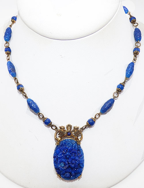 Newly Added Art Nouveau Molded Lapis Glass Necklace