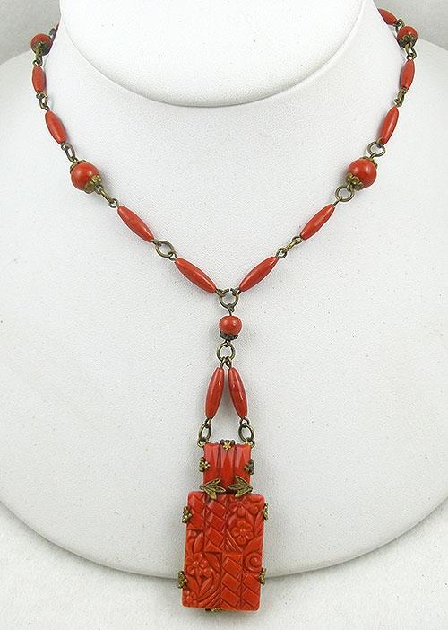 Art Deco - Czech Art Deco Molded Coral Glass Necklace