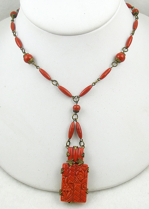 Necklaces - Czech Art Deco Molded Coral Glass Necklace