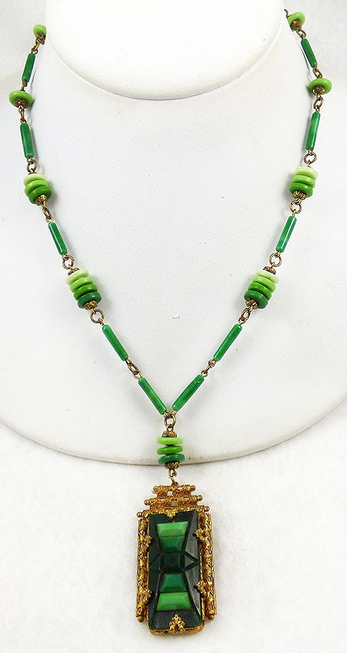 Necklaces - Czech Green Glass Step Necklace
