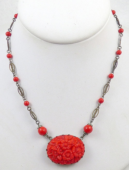 Necklaces - Czech Red Molded Glass Necklace