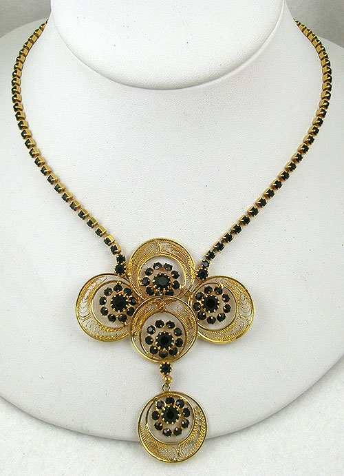 Necklaces - Gold Filigree Black Rhinestone Necklace