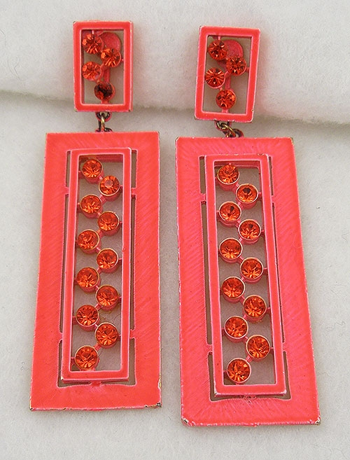Trend: Spring Summer 2019 Earrings - Mod 1960's Orange Enamel Rhinestone Earrings
