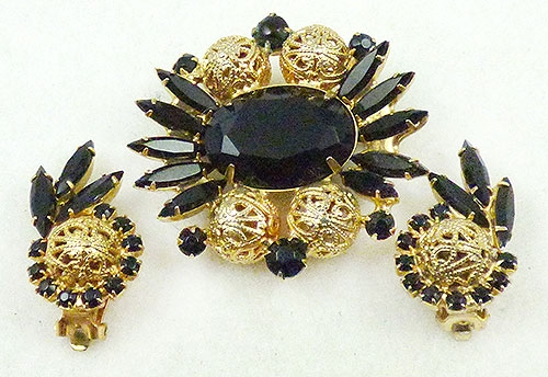 DeLizza & Elster/Juliana - DeLizza and Elster Black Rhinestone Brooch Set