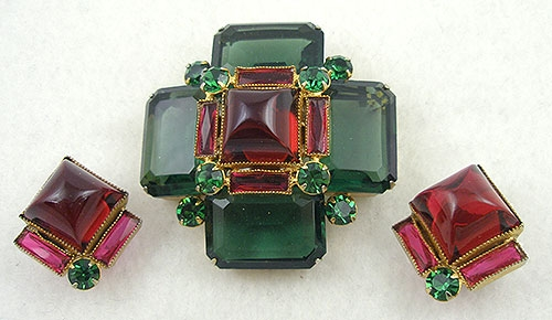 Sets & Parures - Emerald & Ruby Glass Quatrefoil Brooch Set