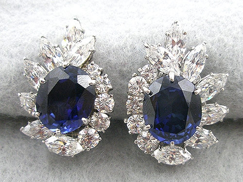 Countess Madeleine - Contess Madeleine Sapphire CZ Earrings