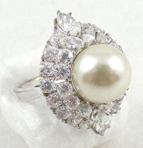 Countess Madeleine - Countess Madeleine Sterling Pearl CZ Ring