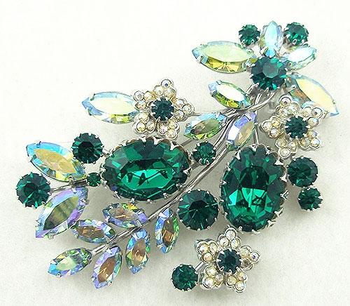 Brooches - Vendome Emerald Rhinestone Floral Brooch