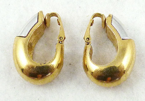 Description Vintage Givenchy Gold Plated Teardrop Shaped Semi Hoop Clip Earrings The Top Half Of Drop Have A Silver Insert In Place