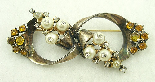 Brooches - Ciner Sterling Vermeil Bow Brooch