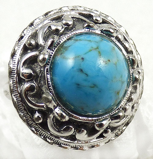 Whiting & Davis - Whiting & Davis Glass Turquoise Ring