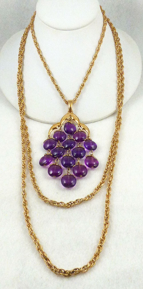 Necklaces - Trifari Purple Lucite Waterfall Necklace