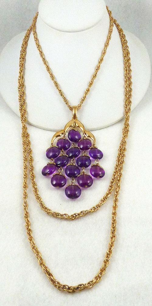 Trifari - Trifari Purple Lucite Waterfall Necklace