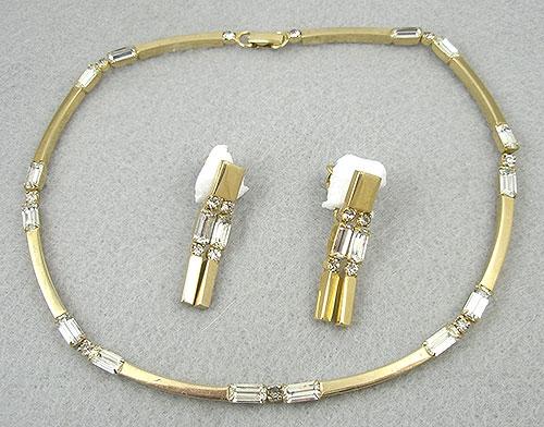 Sets & Parures - Castlecliff Baguette Rhinestone Necklace Set