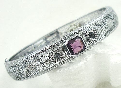 Bracelets - Plainville Stock Co Rhodium Filigree Bracelet
