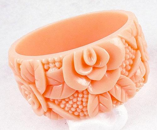 Bracelets - Peach Plastic Molded Roses Bangle Bracelet