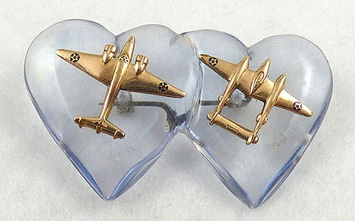 Hearts - WWII Lucite Double Hearts Sweetheart Brooch