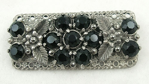 Czechoslovakia - Czech Silver Filigree Black Rhinestone & Marcasite Brooch