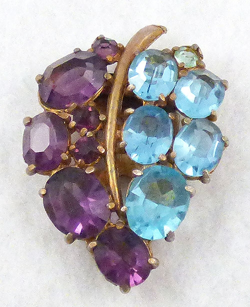 Leaves & Plants - Amethyst and Aqua Leaf Dress Clip