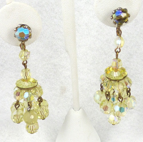 Crystal Bead Jewelry - Yellow Crystal Bead Chandelier Earrings