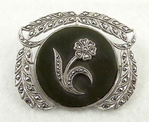 Art Deco - Art Deco Onyx and Marcasite Sterling Brooch