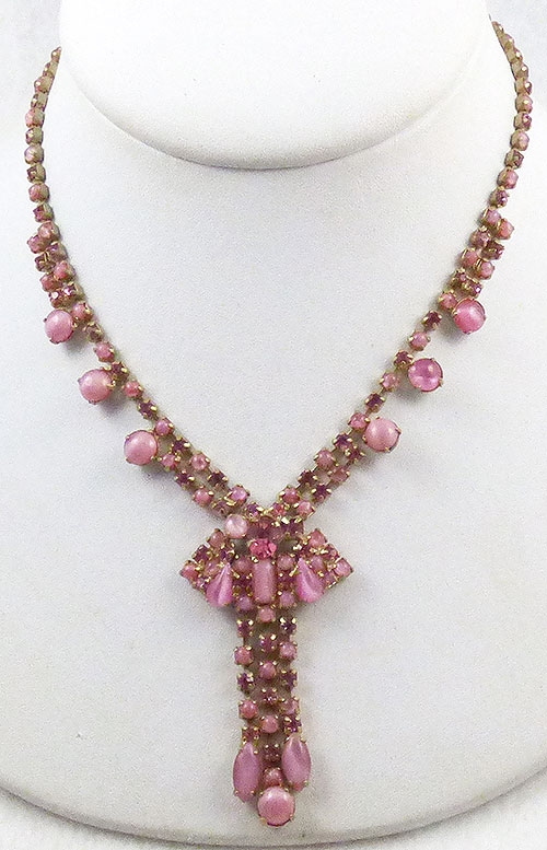 Necklaces - Pink Moonstone and Rhinestone Necklace