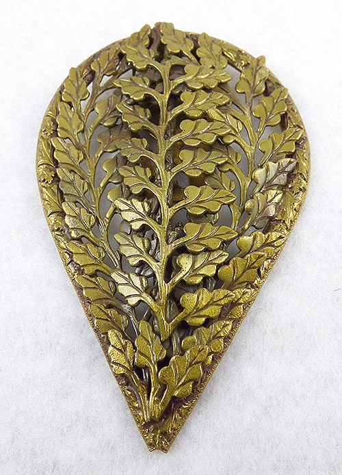 Art Nouveau - Brass Leaves Dress Clip